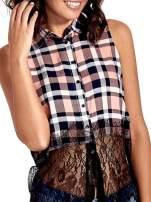 Różowa koszula w kratę z koronkowym dołem                                  zdj.                                  3