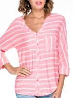 Różowa koszula w paski z rękawem 3/4                                  zdj.                                  7