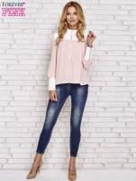 Różowa koszula ze skórzanymi pikowanymi wstawkami                                  zdj.                                  2