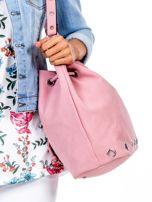 Różowa miękka torba ze ściągaczem                                  zdj.                                  2