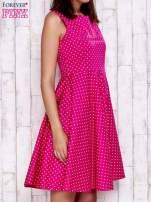 Różowa rozkloszowana sukienka w groszki                                                                          zdj.                                                                         3