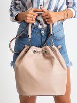 Różowa skórzana torba ze ściągaczem                                  zdj.                                  3