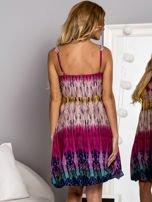 Różowa sukienka dzienna na ramiączka w stylu etno                                  zdj.                                  3