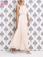 Różowa sukienka maxi z biżuteryjnym dekoltem                                                                          zdj.                                                                         3