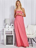 Różowa sukienka maxi z wiązaniem na szyi                                  zdj.                                  1