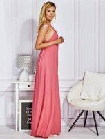 Różowa sukienka maxi z wiązaniem na szyi                                  zdj.                                  5