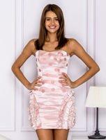 Różowa sukienka w grochy z falbanami                                  zdj.                                  1