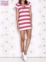 Różowa sukienka w paski ze sznurowanym dekoltem                                  zdj.                                  7