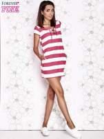 Różowa sukienka w paski ze sznurowanym dekoltem                                  zdj.                                  3