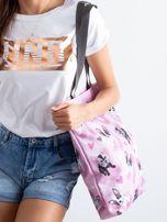 Różowa torba na ramię z nadrukiem                                  zdj.                                  2