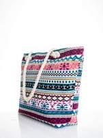 Różowa torba plażowa w azteckie wzory                                  zdj.                                  4