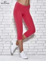 Różowe legginsy sportowe z dżetami i marszczoną nogawką za kolano                                  zdj.                                  1