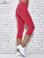 Różowe legginsy sportowe z dżetami i marszczoną nogawką za kolano                                  zdj.                                  3