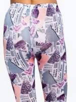 Różowe legginsy z motywem newspaper print                                  zdj.                                  7