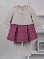 Różowo-beżowy ciepły niemowlęcy 3-częściowy komplet z sukieneczką i sweterkiem dla dziewczynki na co dzień i na specjalne okazje                                  zdj.                                  1