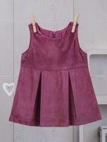 Różowo-beżowy ciepły niemowlęcy 3-częściowy komplet z sukieneczką i sweterkiem dla dziewczynki na co dzień i na specjalne okazje                                  zdj.                                  4