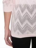 Różowy ażurowy sweterek z rękawem 3/4                                  zdj.                                  8