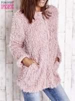 Różowy futrzany sweter kurtka na suwak                                  zdj.                                  4