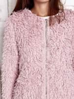 Różowy futrzany sweter kurtka na suwak                                  zdj.                                  7