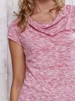 Różowy melanżowy t-shirt z lejącym dekoltem                                                                          zdj.                                                                         5