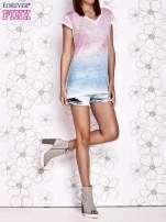 Różowy t-shirt z efektem jasnoniebieskiego ombre                                  zdj.                                  5