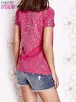 Różowy t-shirt z napisem BONJOUR                                  zdj.                                  4