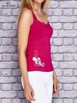 Różowy top sportowy z siateczką i nadrukiem floral print                                  zdj.                                  3
