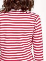 Rozpinany sweter w biało-czerwone paski z kieszonkami po bokach                                  zdj.                                  8