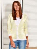 Rozpinany sweter w biało-żółte paski z kieszonkami po bokach                                                                          zdj.                                                                         6