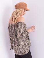 SCANDEZZA Beżowa bluzka hiszpanka wężowa                                  zdj.                                  3