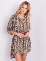 Beżowa sukienka animal print                                  zdj.                                  4