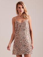 SCANDEZZA Beżowa sukienka mini                                   zdj.                                  4