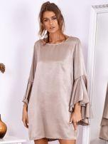 SCANDEZZA Beżowa sukienka z hiszpańskimi rękawami                                  zdj.                                  2