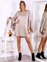 SCANDEZZA Beżowa sukienka z hiszpańskimi rękawami                                  zdj.                                  4