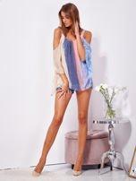 SCANDEZZA Beżowo-niebieska bluzka ombre bez ramion z cekinami                                  zdj.                                  4