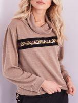 Beżowy sweter golf z cekinowym zdobieniem                                  zdj.                                  2
