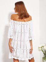 Biała sukienka hiszpanka z boho troczkiem i haftem                                  zdj.                                  3