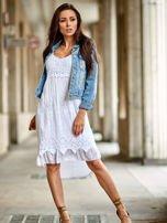 Biała sukienka z ozdobnym kwiatowym haftem                                  zdj.                                  4