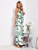 Biało-zielona maxi sukienka w liście z wiązaniem                                  zdj.                                  5