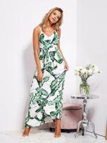 Biało-zielona maxi sukienka w liście z wiązaniem                                  zdj.                                  9