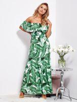 Biało-zielona sukienka hiszpanka maxi w tropikalne liście                                  zdj.                                  1