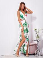 Biało-zielona sukienka maxi floral print z rozcięciem                                  zdj.                                  8