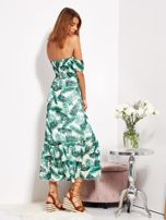 Biało-zielona sukienka maxi off shoulder w liście                                  zdj.                                  6