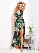 SCANDEZZA Czarna sukienka w kwiaty z rozcięciem i wiązaniem                                  zdj.                                  11