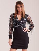 SCANDEZZA Czarna sukienka z cekinami                                  zdj.                                  3