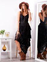 Czarna sukienka z falbanami                                  zdj.                                  4
