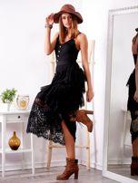 Czarna sukienka z falbanami                                  zdj.                                  3