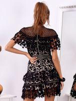 Czarno-beżowa koronkowa sukienka w gwiazdki                                  zdj.                                  2