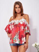 SCANDEZZA Czerwona lniana bluzka cold shoulder w kwiaty                                  zdj.                                  1