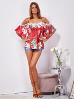 Czerwona lniana bluzka cold shoulder w kwiaty                                  zdj.                                  7